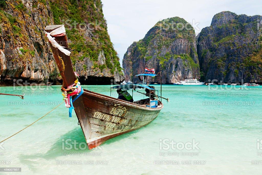 Longtail boats, Maya bay, Thailand stock photo