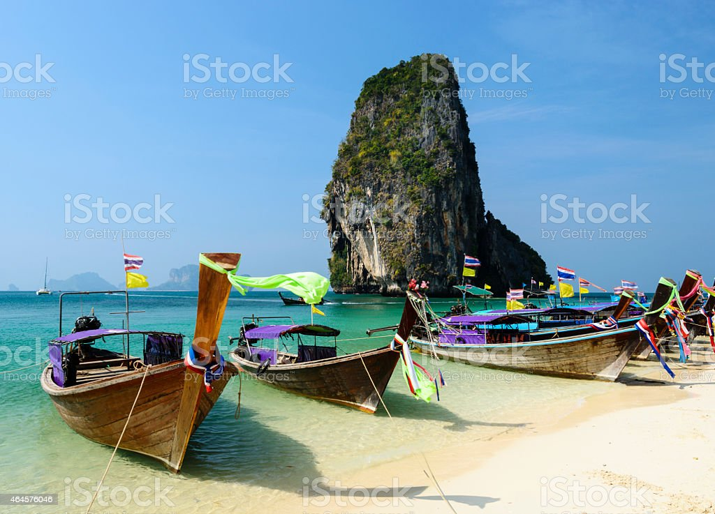 Longtail Boats on Railay Beach Thailand stock photo