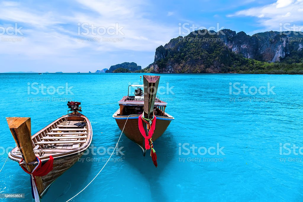 longtail boats stock photo