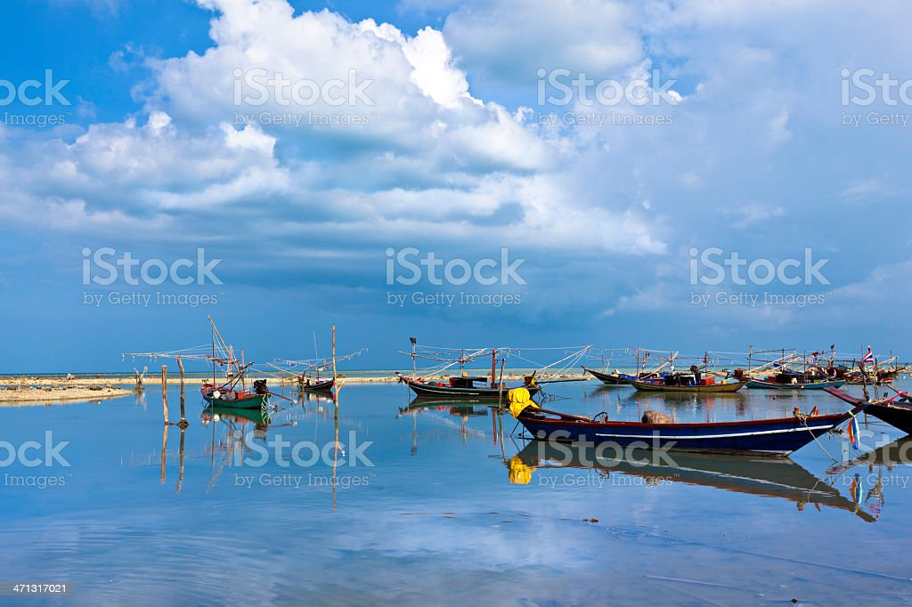 longtail fishing boats royalty-free stock photo