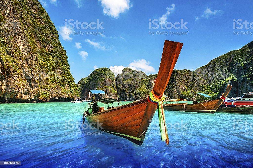 A Longtail Wooden Boat at Maya Bay, Thailand stock photo