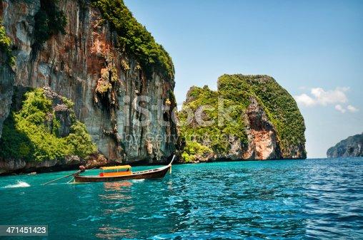 istock Longtail Wooden Boat at Maya Bay, Thailand 471451423