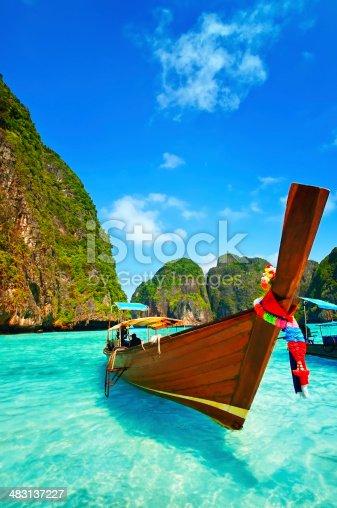 istock Longtail Wooden Boat at Maya Bay, Thailand 483137227