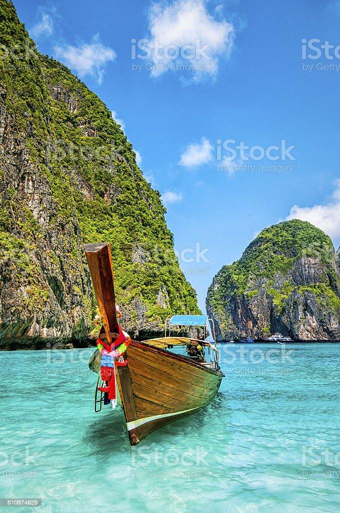 Longtail Wooden Boat at Maya Bay, Thailand stock photo