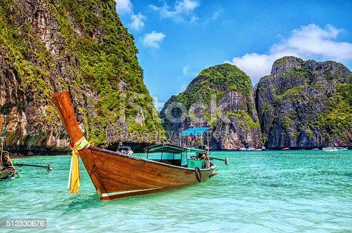 istock Longtail Wooden Boat at Maya Bay, Thailand 512330676