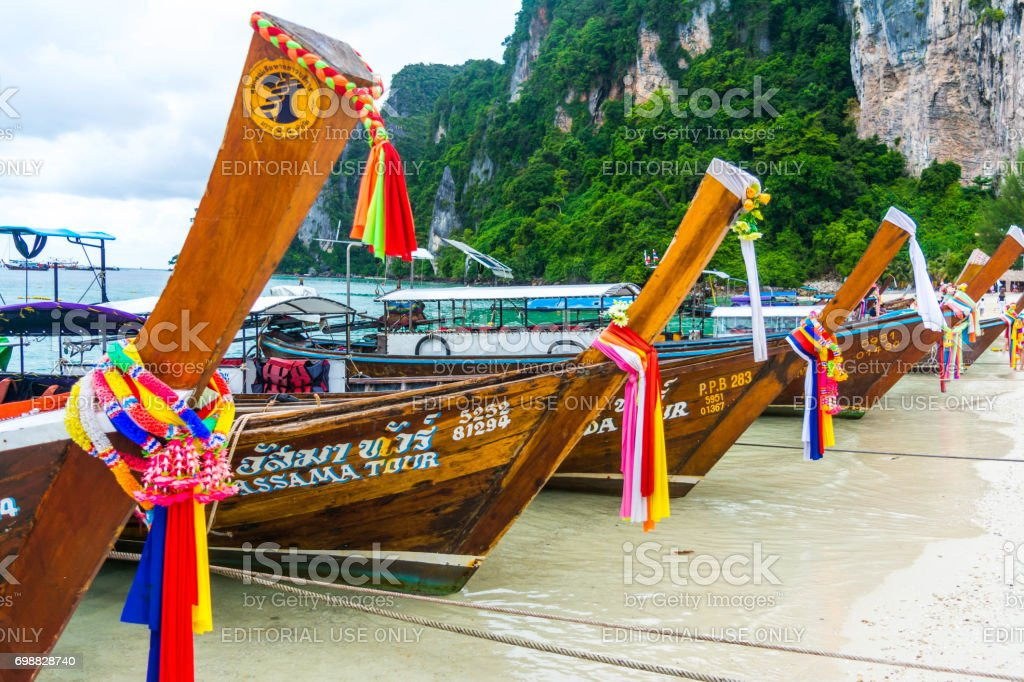 Longtail Wooden Boats in Phi Phi Don Island - Thailand stock photo