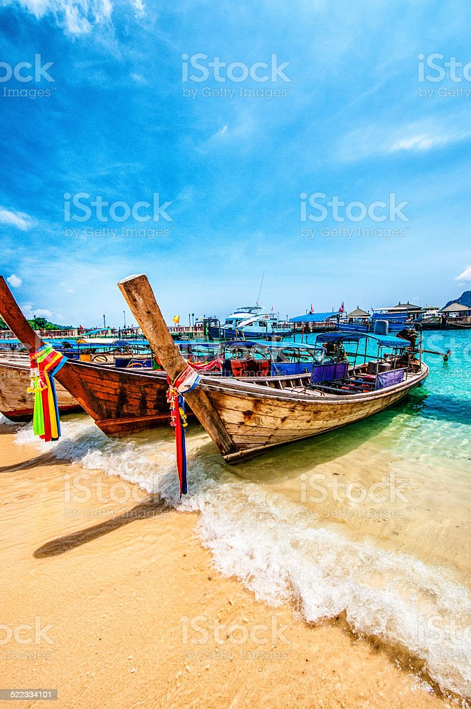 Longtail Wooden Boats in Phuket, Thailand stock photo