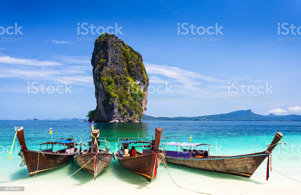 longtailboat in Thailand. stock photo