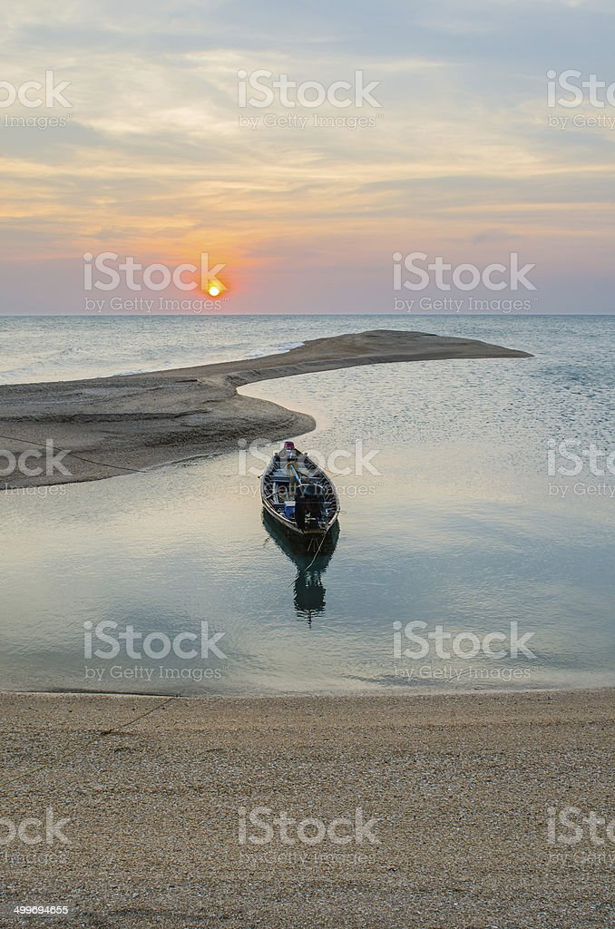 Long-tailed boat with sunset beach. royalty-free stock photo