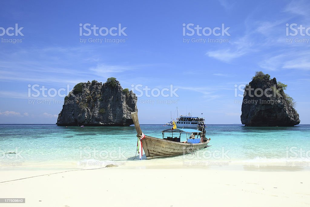 Long-tailed boat,Andaman sea royalty-free stock photo
