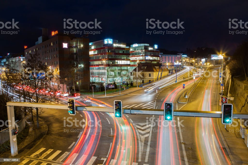longtime Exposure of a street in Prague stock photo