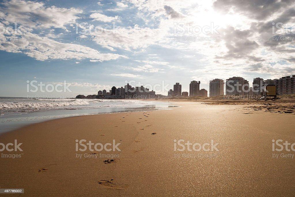 Lonley beach, Punta Del Este Uruguay stock photo