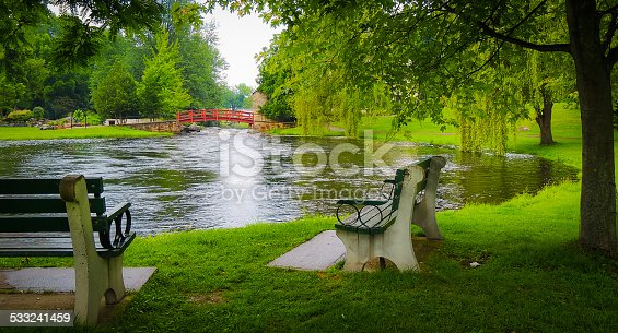 benches in the park by the inlet await visitors on a spring day.