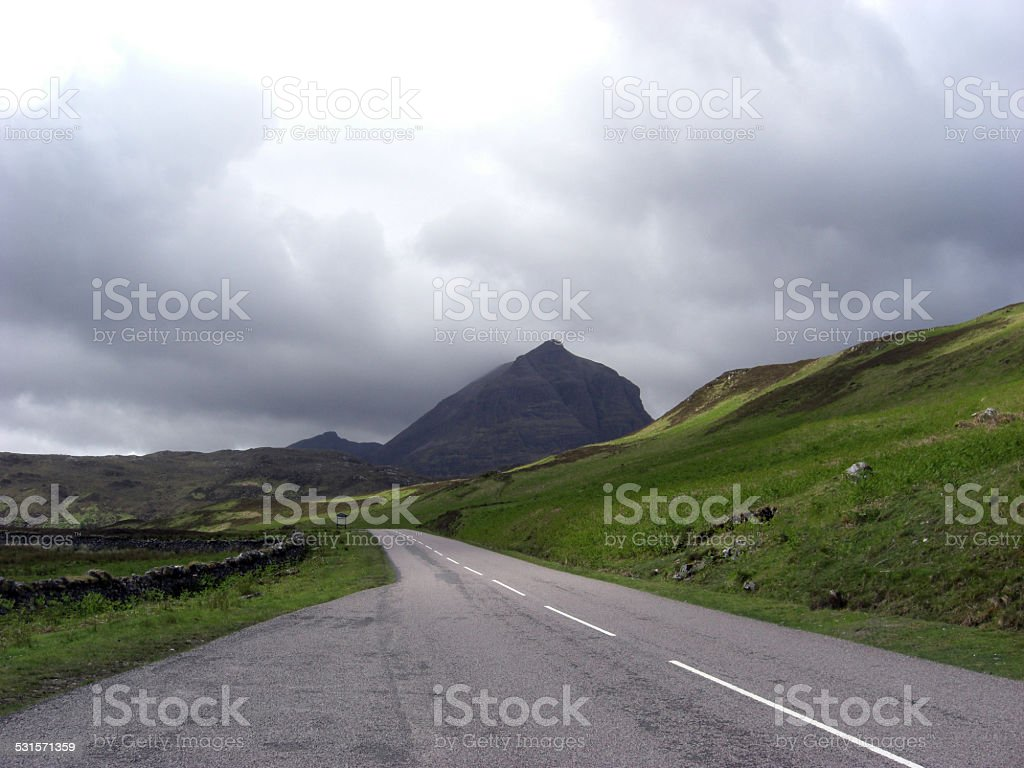 Lonley Road in Scotish Highlands stock photo