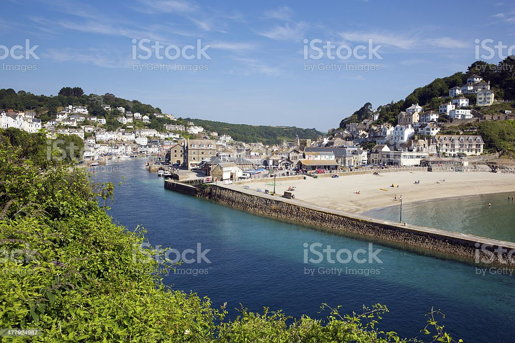 Looe beach and harbour Cornwall England stock photo
