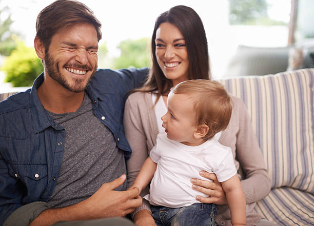 Look at Daddy's face! stock photo