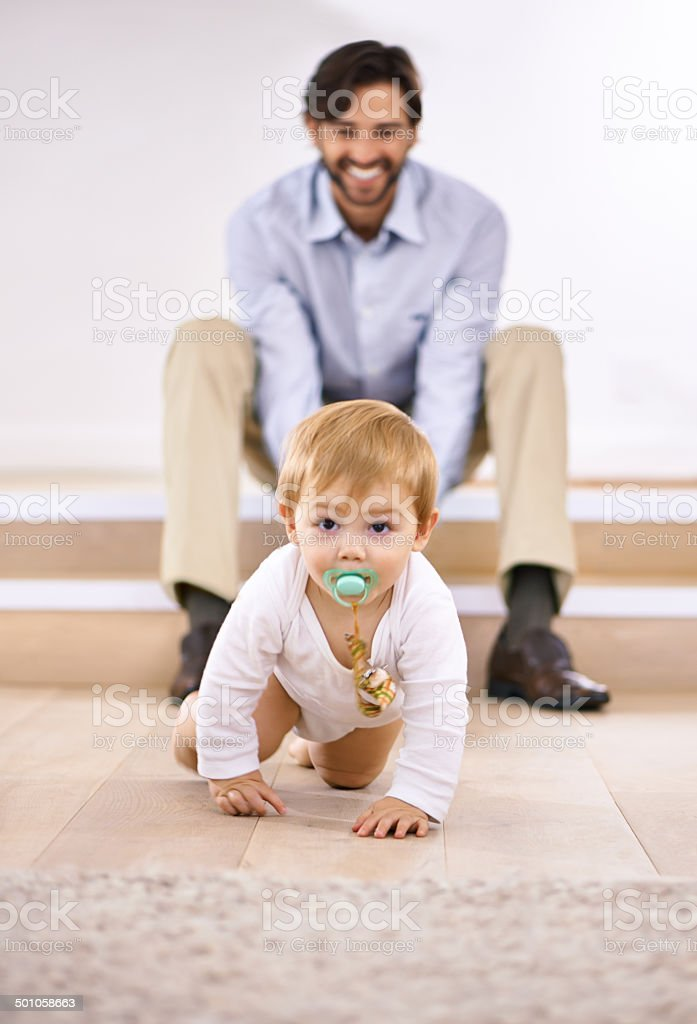 Look at him go! stock photo