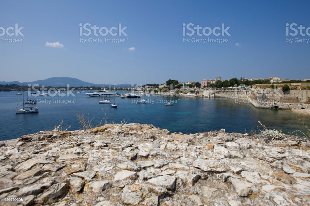 Look at Kerkyra harbour with yachts foto stock royalty-free