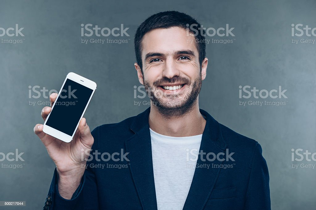 Look at my new smart phone! stock photo