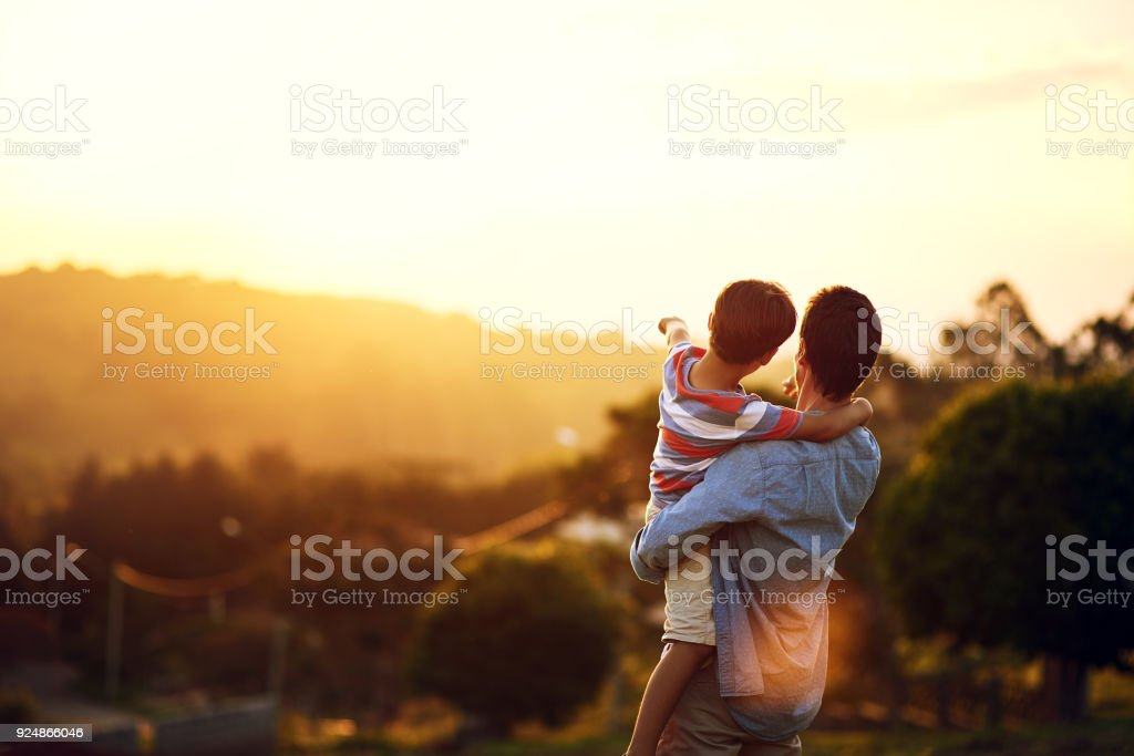 Look at that, Dad stock photo