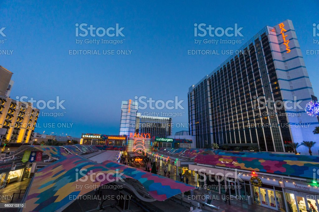 A look at the Bally's Hotel and casino on Las Vegas Boulevard, commonly named The Strip. stock photo