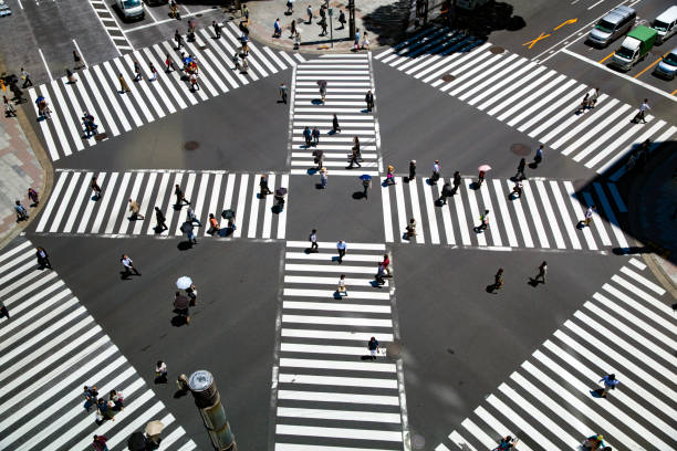 Look at the crosswalk of the scrambled intersection from above stock photo
