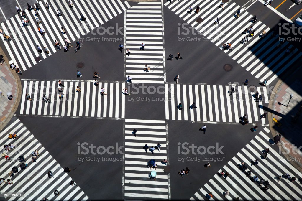 Look at the crosswalk of the scrambled intersection from above royalty-free stock photo