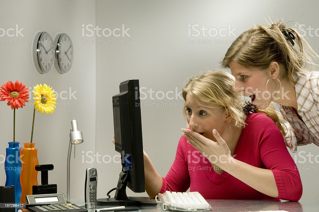 look at the pc monitor in office royalty-free stock photo