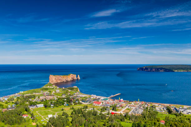 A look at the small town of Percé and its famous Rocher Percé (Perce Rock), part of Gaspe peninsula in Québec. stock photo