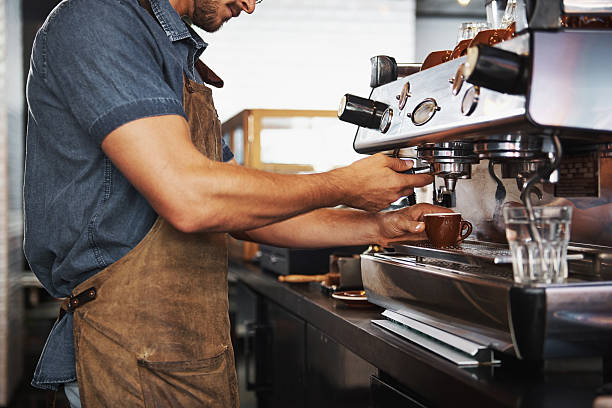 look at those skilled hands! - barista making coffee stock pictures, royalty-free photos & images