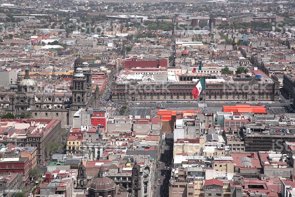 Look at view of Mexico City with Metropolitan cathedral and Zocalo...