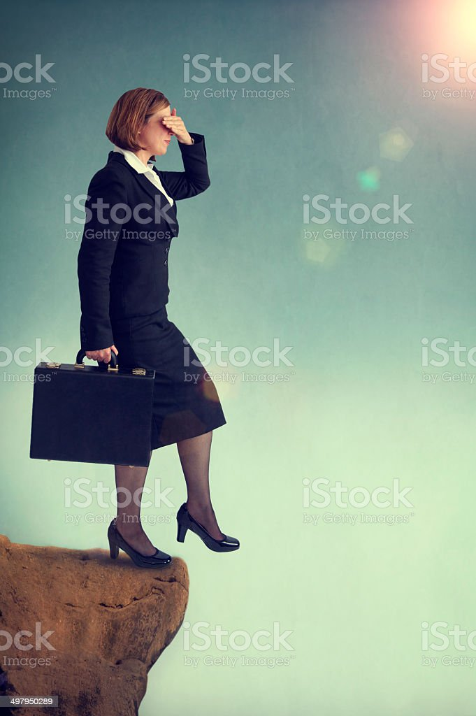 look before you leap stock photo