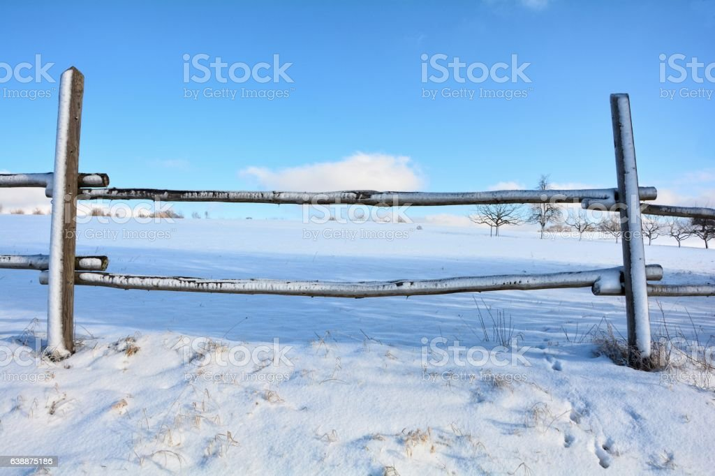 Look by a wooden fence on a field in winter stock photo