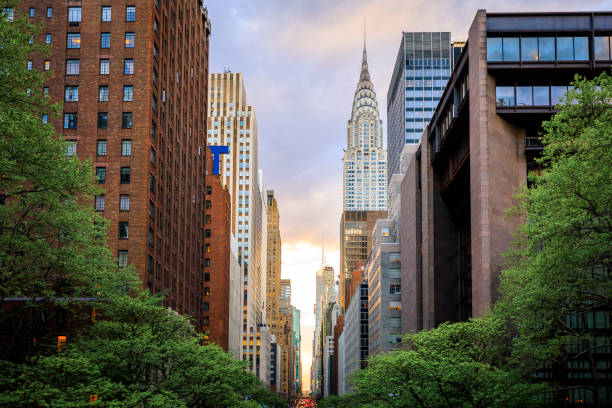 Look Down 42nd Street, Manhattan stock photo
