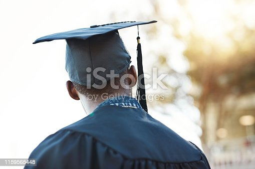 Rearview shot of a young man on graduation day