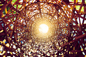Look from the inside of bamboo basket