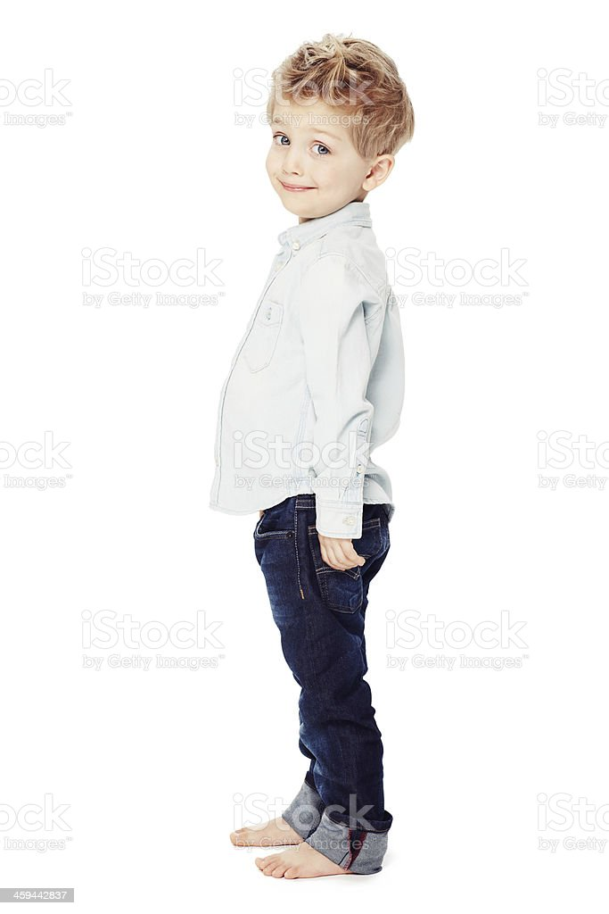Look how tall I'm getting! stock photo