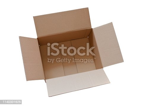 Look inside a open brown cardboard box. Delivery and shipping carton package. On white background.