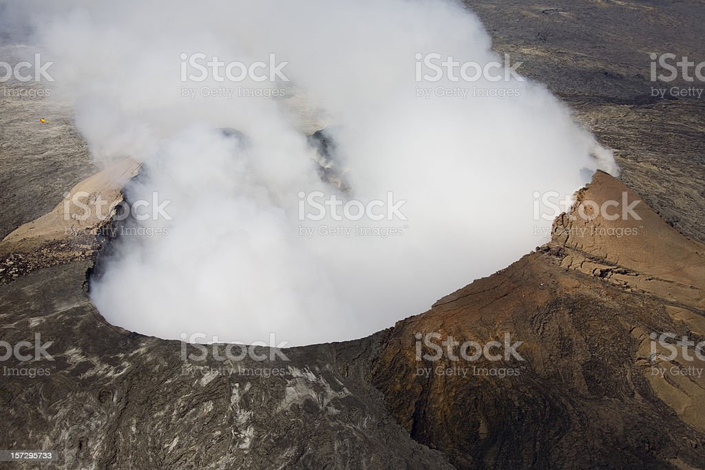 Look into active volcano from the air (Pu`u O`o, Hawaii) stock photo