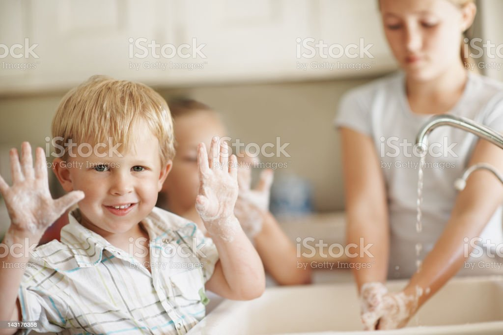 Look mom, no germs! stock photo