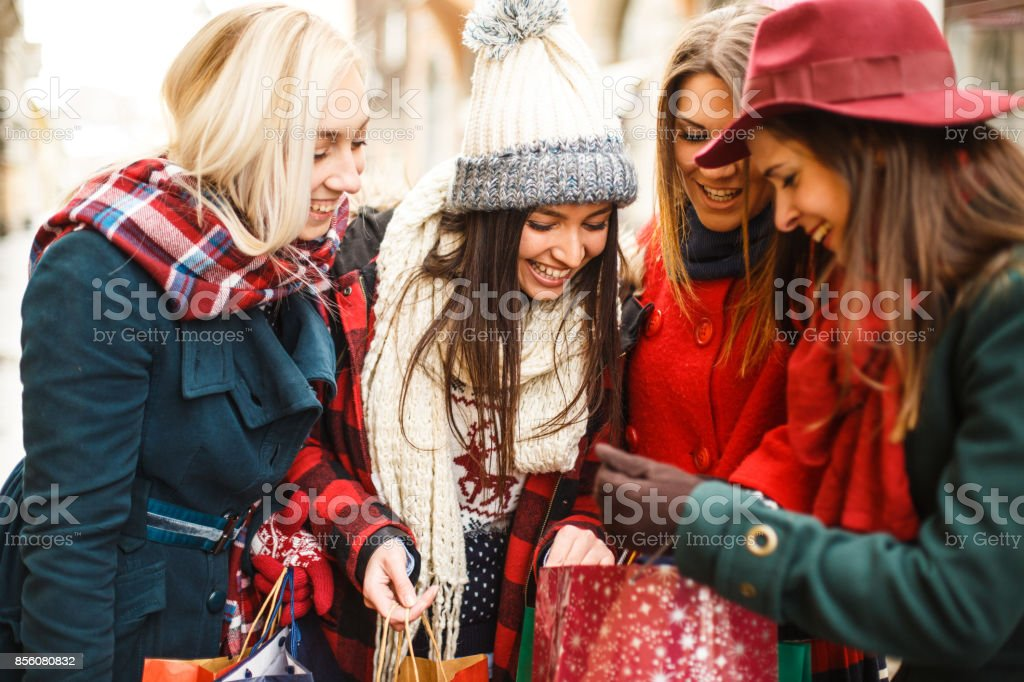 Look of happy and curious girls stock photo