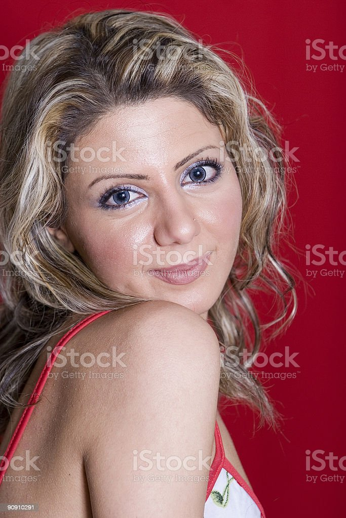 Look over shoulder royalty-free stock photo