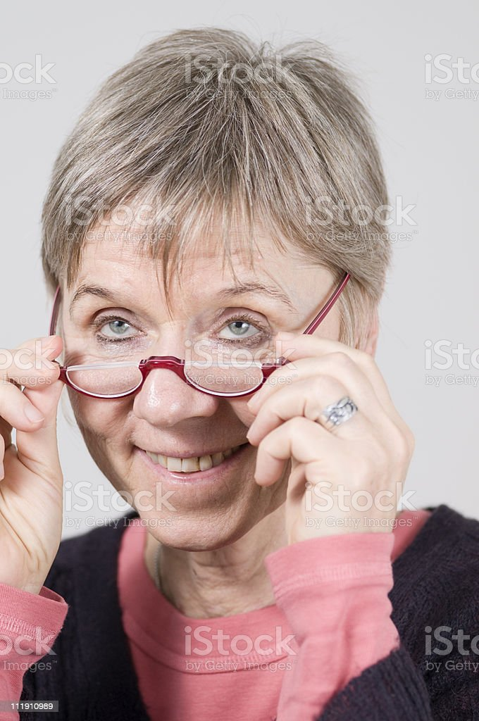 look over the glasses stock photo