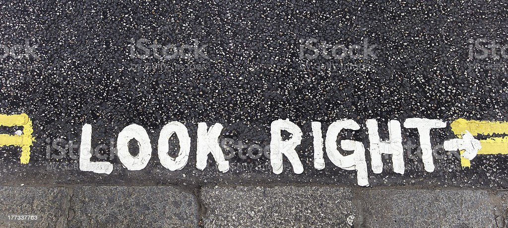 Look right warning royalty-free stock photo