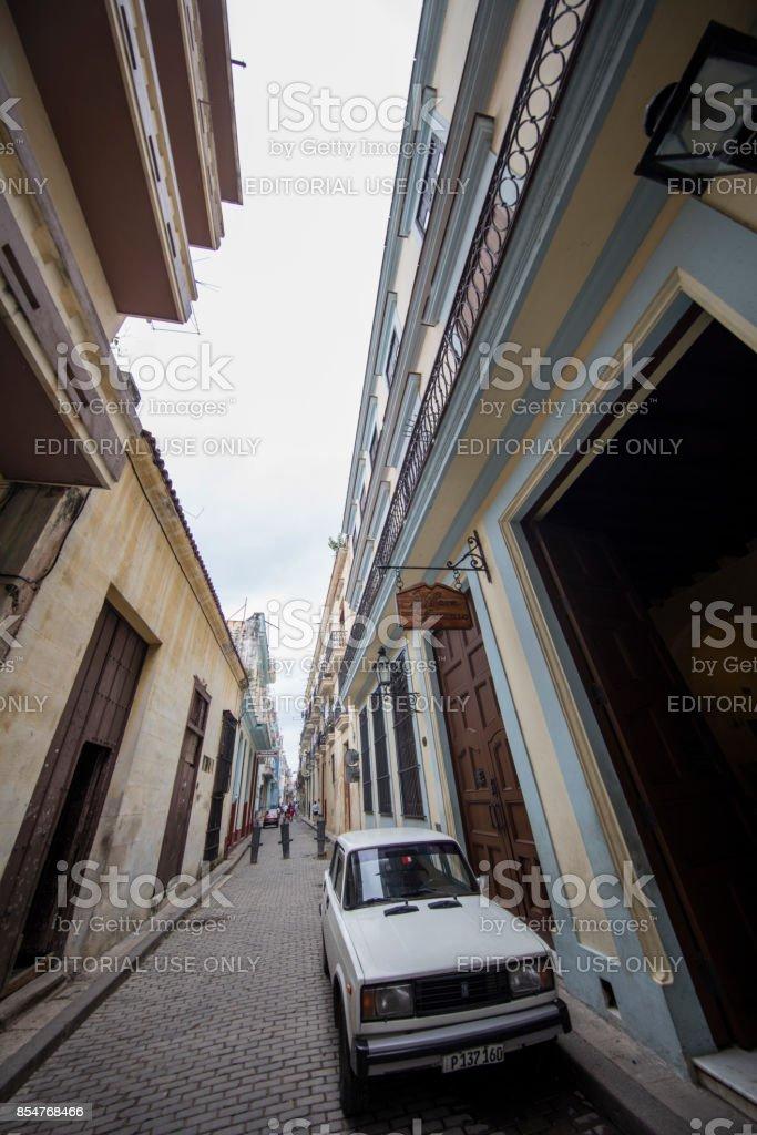 Look up from the Street of havana, cuba stock photo