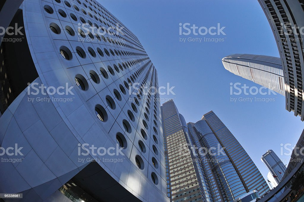 Look up in financial district royalty-free stock photo