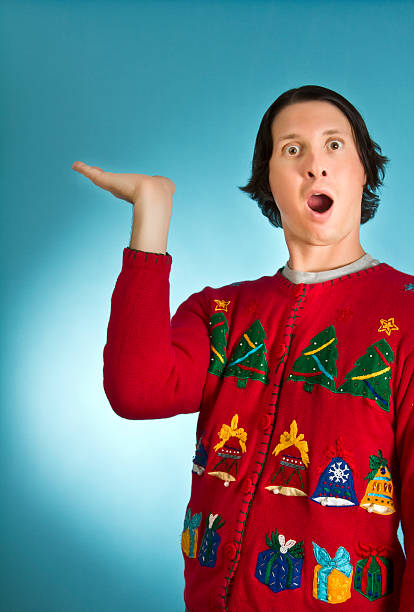look what i have - ugly sweater stock photos and pictures