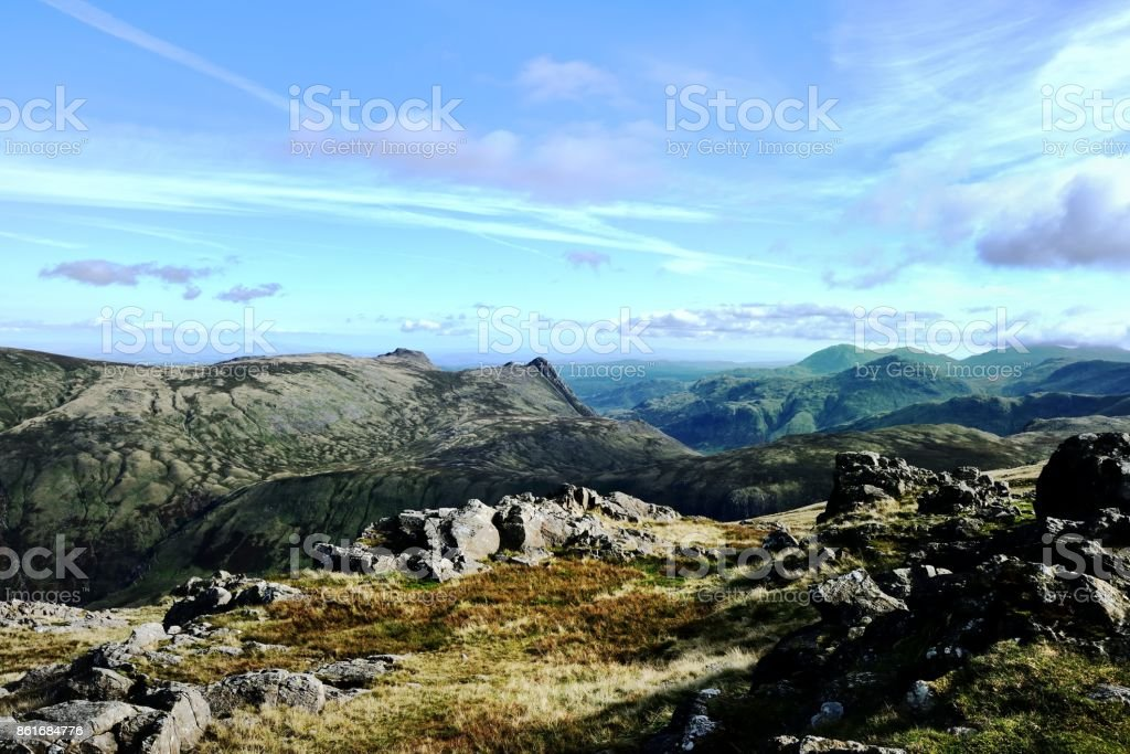 Lookign south from Allen Crag stock photo