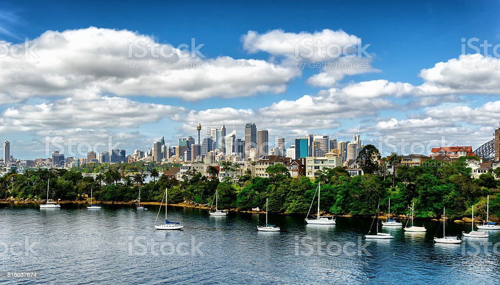 Looking across Cremorne Point from Mosman bay stock photo