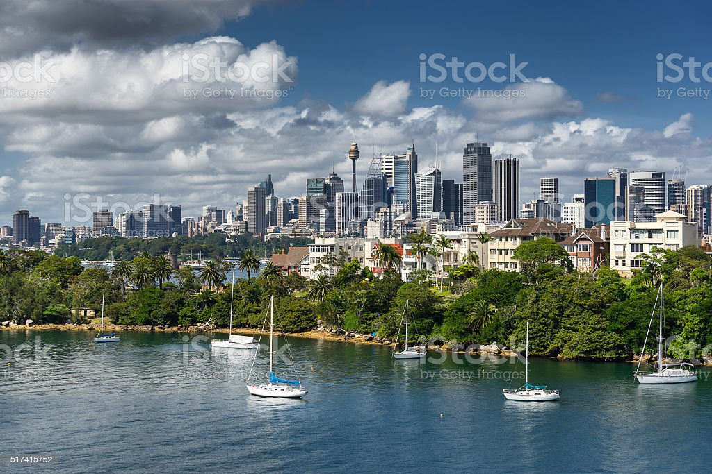Looking across Cremorne Point to Sydney stock photo